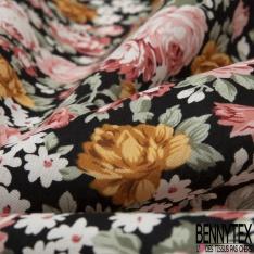 Coton imprimé Motif Floral ton Fushia Blanc Vintage fond Noir
