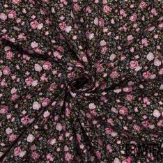 Coton imprimé Motif Floral ton Ocre Rose Blanc Vintage fond Noir