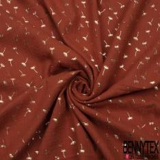 Coton Double Gaze Rouille Fleur de Pissenlit Mylar Or