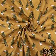 Coton Crétonne imprimé Motif Toucan Olive sur Feuille Tropicale fond Moutarde