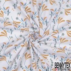 Coton Crétonne imprimé Motif Plante Fantaisie Multicolore fond Blanc