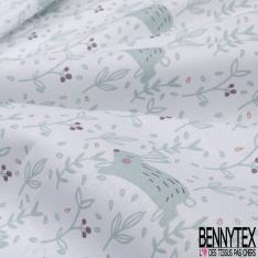 Coton Crétonne imprimé Motif Petit Arc en Ciel Rigolo et Or fond Blanc