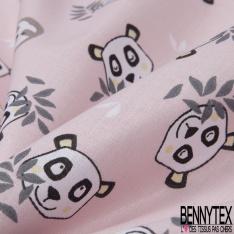 Coton Crétonne imprimé Motif Tête de Panda et Paresseux fond Rose Pastel