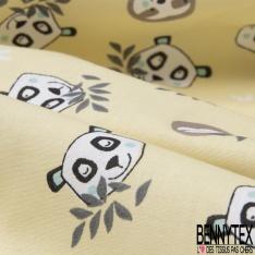 Coton Crétonne imprimé Motif Tête de Panda et Paresseux fond Jaune Pastel