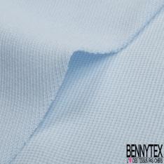 Jersey Coton Piqué Uni Bleu Ciel Grande Laize