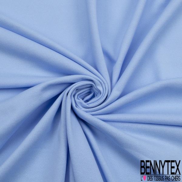 Jersey Coton Piqué Uni Bleu Layette Grande Laize
