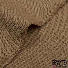 Jersey Coton Piqué Uni Beige Grande Laize