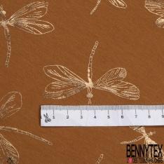 Jersey Coton Elasthanne Imprimé Libellule Mylar Or fond Ocre