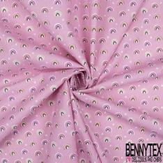 Coton Crétonne imprimé Motif Petit Coeur Rose Pâle Blanc fond Blanc Rose Pâle