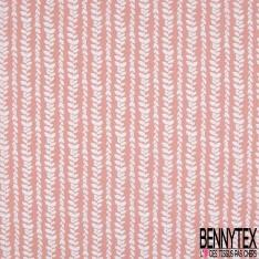 Coton Crétonne imprimé Motif Rideau de Feuille blanche fond Rose Corail
