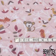 Coton Matelassé imprimé Recto Forêt Enchantée fond Rose Verso Goutte d'eau fond Rose