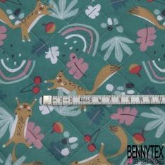 Coton Matelassé imprimé Recto Tête de Panda fond Blanc Verso Triangle fond Vert d'eau