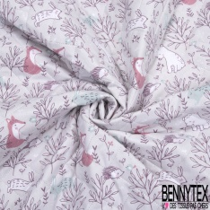 Coton Matelassé imprimé Recto Tête de Panda fond Kaki Verso Plante fond Blanc