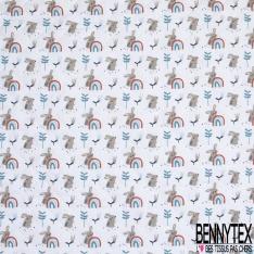 Coton Matelassé imprimé Recto Lapin Arc en ciel fond Blanc Verso Petit Panda Lapin Arc en ciel fond Bleu