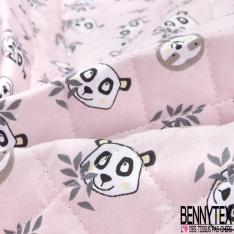 Coton Matelassé imprimé Recto Paresseux Panda fond Rose Pâle Verso Paresseux Panda fond Blanc