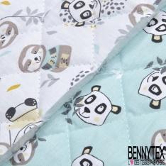 Coton Matelassé imprimé Recto Paresseux Panda fond Vert d'eau Verso Paresseux Panda fond Blanc