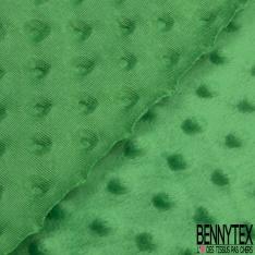 Minky Pois effet Gaufré Uni Vert Gazon