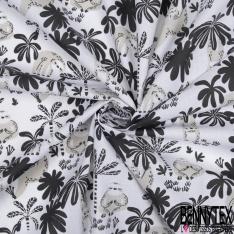 Coton Crétonne imprimé Motif Famille de Paresseux Perle Noir Multicolores fond Blanc