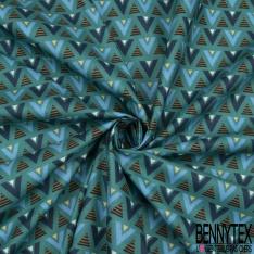 Coton Crétonne imprimé Motif Sapin stylisé Fantaisie Multicolores fond Perle