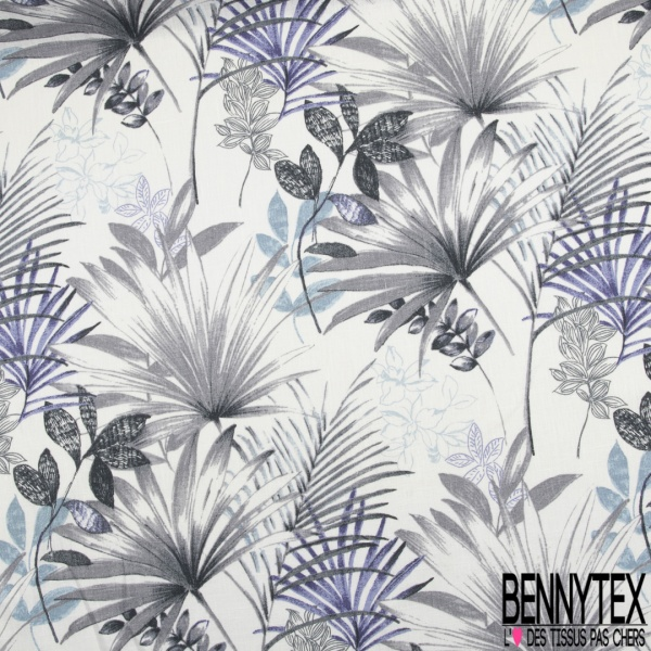 Toile Lin imprimé Grand Motif Floral Cachemire Violine Blanc