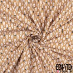 Coton Crétonne imprimé Motif Plume Stylisée fond Olive