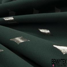 Microfibre Woolpeach Imprimé Losange Mylar Argent fond Vert Anglais