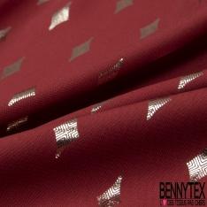 Microfibre Woolpeach Imprimé Losange Mylar Argent fond Rouge bismarck