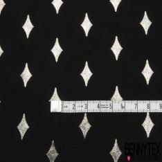Microfibre Woolpeach Imprimé Losange Mylar Argent fond Noir