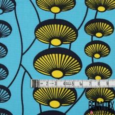 Wax Africain N°955: Motif Ombrelle Japonaise Jaune Lagon fond Lagon effet Ciré