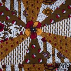 Wax Africain N°956: Motif Fantaisie Orange Rouge Noir fond Blanc Marbré non Ciré