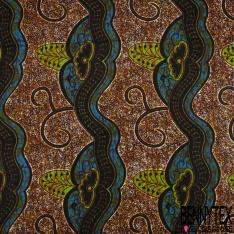 Wax Africain N°957: Motif Fleur Tropicale fond Blanc Marbré non Ciré