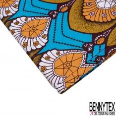 Wax Africain N°961: Motif Soleil Jaune or Rouge fond Noir effet Ciré