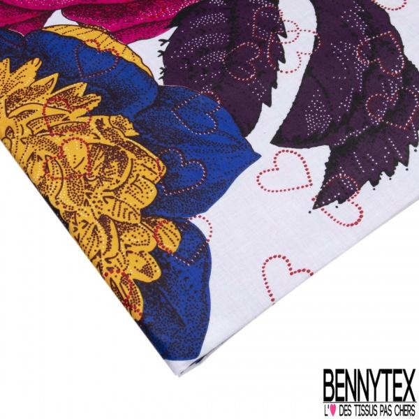 Wax Africain N°964: Motif Grosse Fleur ton Violet Bleu Jaune Coeur Rouge fond Blanc non Ciré