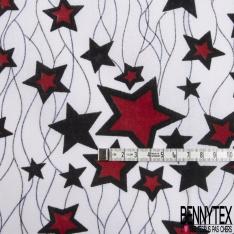 Wax Africain N°965: Motif Etoile ton Noir Rouge fond Blanc Fantaisie non Ciré