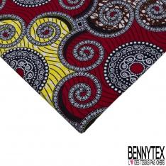 Wax Africain N°966: Motif Etoile ton Noir Rouge fond Blanc Fantaisie non Ciré
