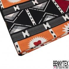Wax Africain N°967: Motif Damier Fantaisie ton orange Crème Noir et Rouge effet Ciré
