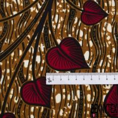 Wax Africain N°972: Motif Fleur Tropicale Noir Bleu Jaune fond Marbré Violine effet Ciré