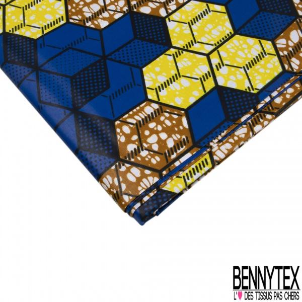 Wax Africain N°975: Motif Alvéole 3D Roi Jaune et Ocre Marbrés effet Ciré