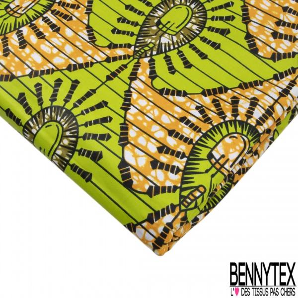 Wax Africain N°976: Motif Abstrait Anis Marbré Jaune Or Kaki effet Ciré