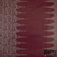 Wax Africain N°977: Simple Base Motif Rose Bordeaux Bleu Givré effet Ciré