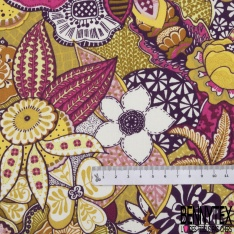 Coton Crétonne imprimé Motif Floral Foisonnant ton Rose Bleu Blanc