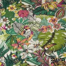 Coton Crétonne imprimé Motif Floral Foisonnant ton Vert Orange Blanc