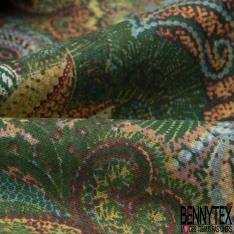 Coton Crétonne imprimé Motif Floral Cachemire Foisonnant ton Vert Blanc