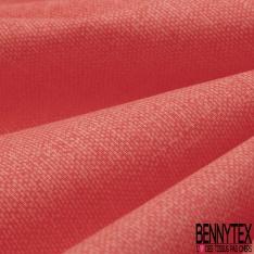 Coton Crétonne uni Rouge Corail à effet de matière
