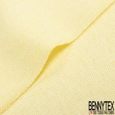 Jersey Coton Piqué Uni Beurre Frais Grande Laize