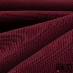 Jersey Coton Piqué Uni Lie de Vin Grande Laize