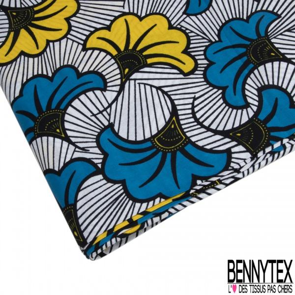 Wax Africain N°978: Motif Fleur de Lys Stylisée Lagon Jaune fond Strié Noir Blanc non Ciré