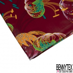 Wax Africain N°980: Motif Fleur Tropicale Stylisée fond Rouge Cerise effet Ciré
