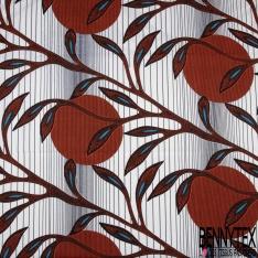 Wax Africain N°982: Motif Fleur Fantaisie ton Vert Jaune fond Marbré Olive Blanc effet Ciré