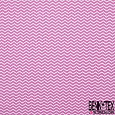 Coton imprimé motif zig zag blanc et rose